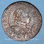 Monnaies Louis XIII (1610-1643). Double tournois au buste enfantin et col plat 1614 D. Lyon