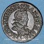 Monnaies Louis XIII (1610-1643). Double tournois au buste enfantin et col plat 1619 G. Poitiers