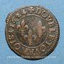 Monnaies Louis XIII (1610-1643). Double tournois, au buste juvénile, au col rabattu 1624 O. Riom