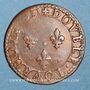Monnaies Louis XIII (1610-1643). Double tournois au buste juvénile et col fraisé 1631 E. Tours
