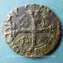 Monnaies Louis XIII (1610-1643). Douzain illégal émis par les Huguenots refrappé sur double tournois de Lyon