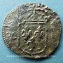 Monnaies Louis XIII (1610-1643). Douzain illégal émis par les Huguenots refrappé sur un denier tournois 1635H