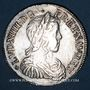 Monnaies Louis XIV (1643-1715). 1/2 écu à la mèche longue 1653 T. Nantes