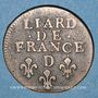 Monnaies Louis XIV (1643-1715). Liard de France au buste âgé, 3e type, 1693 D. Lyon