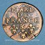 Monnaies Louis XIV (1643-1715). Liard de France au buste âgé, 3e type, 1699 &. Aix. Avec soleil