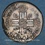 Monnaies Louis XIV (1643-1715). Sol de 15 deniers surfrappé sur un ancien flan 1693 D. Lyon