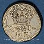 Monnaies Espagne. Poids monétaire de 4 réaux de Philippe II à Philippe V. Poinçon de contrôle Lespée, Reims