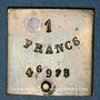 Monnaies France. Poids étalon de la 1 franc, poids faible avec bouton de préhension