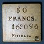 Monnaies France. Poids étalon de la 50 francs, poids faible