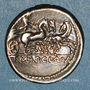 Monnaies Rép. rom. T. Manlius Mancinus, Appius Claudius Pulcher, Q. Urbinius (vers 111-110 av J-C). Denier