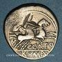 Monnaies République romaine. C. Cato (vers 123 av. J-C). Denier contremarqué au burin d'un T au revers