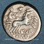 Monnaies République romaine. Furius Purpurio (vers 169-158 av. J-C). Denier