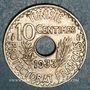 Münzen Tunisie. Ahmed II, bey (1348-1361H = 1929-1942). 10 centimes 1933. Variété 33 plus haut