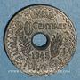 Münzen Tunisie. Mohammed al -Amine, bey (1362-76H). 20 cmes 1945. Essai piéfort