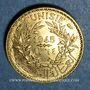 Münzen Tunisie. Mohammed al -Amine, bey (1362-76H). 50 cmes 1945. Essai piéfort