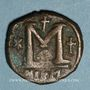 Münzen Empire byzantin. Justin I (518-527). Follis. Nicomédie, 1ère officine, 518-527