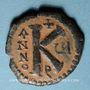 Münzen Empire byzantin. Justin II (565-578). 1/2 follis. Théoupolis (Antioche), 1ère officine 570-571