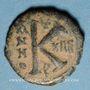 Münzen Empire byzantin. Maurice Tibère (582-602). 1/2 follis. Théopoulis (Antioche), 595-596