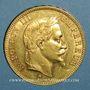 Münzen 2e empire (1852-1870). 100 francs Napoléon III tête laurée 1867 BB. Strasbourg. (PTL 900‰ 32,25 g)