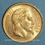 Münzen 2e empire (1852-1870). 20 francs Napoléon III tête laurée 1865A. (PTL 900‰. 6,45 g)