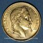Münzen 2e empire (1852-1870). 20 francs tête laurée 1865A. 900 /1000. 6,45 gr
