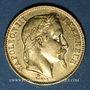 Münzen 2e empire (1852-1870). 20 francs tête laurée 1866BB. Strasbourg. 900 /1000. 6,45 gr