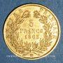 Münzen 2e empire (1852-1870). 5 francs, Napoléon III 1863BB. Strasbourg. 900 /1000. 1,612 gr