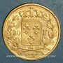 Münzen 2e restauration. Louis XVIII (1815-1824). 20 francs buste nu 1824A. 900 /1000. 6,45 gr