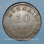 Münzen 1er empire (1804-1814). Siège d'Anvers, 10 cmes 1814. Initiale R, ruban étroit, 2e type