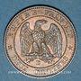 Münzen 2e empire (1852-1870). 2 centimes, tête nue, 1854D. Lyon. Grand D