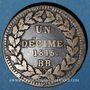 Münzen 2e Restauration (1815-24). 2e blocus de Strasbourg 1815. 1 décime 1815BB points après DECIME et 1815