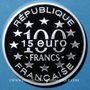 Münzen 5e république (1959- ). 15 euro / 100 francs 1996, abeille, Magere Brug d'Amsterdam
