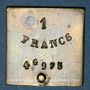 Münzen France. Poids étalon de la 1 franc, poids faible avec bouton de préhension