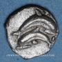 Münzen Tribus thraco-macédoniennes. Les Pières à Sermylia. Vers 490-465 av. J-C. Obole