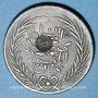 Münzen Tunisie. Abdoul Mejid, sultan avec Muhammad, bey (1272-76H = 1856-60) 1 kharub contremarqué/6 nasri