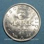 Münzen Allemagne. République de Weimar. 3 mark 1922A