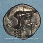 Münzen Aulerques Cénomans. Minimi d'argent à la tête de Pallas. Vers 80-50 av. J-C
