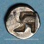 Münzen Marseille (470-460 av. J-C). Hémiobole milésiaque au bonnet perlé