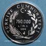 Münzen Turquie. 750.000 lira 1996. (PTL 925/1000. 31,47 g)