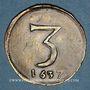 Münzen Lille. Paroisse de Saint-Etienne. Méreau de 3 unités 1637. Cuivre