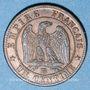 Objets volés 2e empire (1852-70), 1 cme tête laurée 1862BB Strasbourg, grand BB