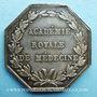 Objets volés Académie royale de médecine, Louis XVIII, jeton argent. Signé Caqué F. et de Puymaurin