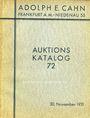 Second hand books Cahn A., Francfort. Vente aux enchères n° 72, du 30.11.1931