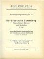 Second hand books Cahn A., Francfort. Vente aux enchères n° 74, du 04.04.1932