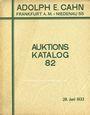 Second hand books Cahn A., Francfort. Vente aux enchères n° 82, du 28.06.1933